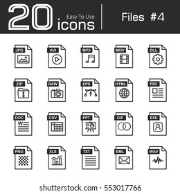 Files icon set 4 ( jpg . avi . mp3 . mov . dll . zip . raw . eps . html . pdf . doc . csv . ppt . gif . exe . png . xls . txt . eml . wav )