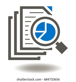 Files Magnifying Glass Pie Chart Vector Icon. Data Analytics Illustration. Assessment, Auditing Logo Sign.