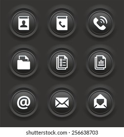Files and Modern Communication on Black Bevel Round Buttons