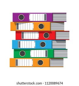 Files, ring binders, colorful office folders. Side view. Bureaucracy, paperwork and office. Vector illustration in flat style