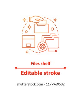 Files shelf concept icon. File management idea thin line illustration. Data storage. Archive. Vector isolated outline drawing. Editable stroke