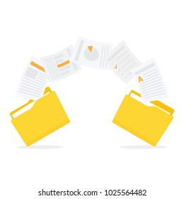 Files transfer. Documents management. Copy files, data exchange, backup Vector illustration