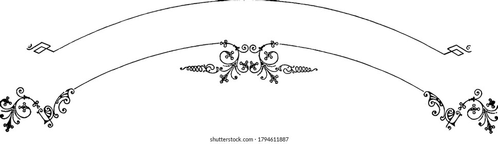 A Filigree banner, with bold patterns, fancy and repeated designs on a curved arc, vintage line drawing or engraving illustration.