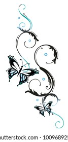 Filigree butterfly in blue and black, with feminine Tribal ornament.