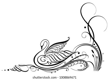 Filigree calligraphy swan with reed. Border.