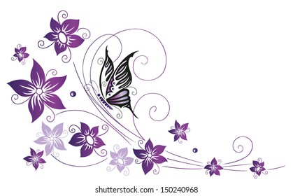Filigree colorful flowers, purple, violet with butterfly.