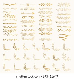 Filigree dividers. Fancy corners and borders. Hand drawn vector illustration.