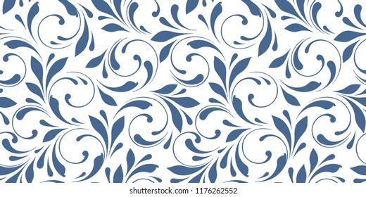 Filigree floral pattern. Winter background. Seamless swirly flowers for design fabric, wrapping, wallpaper and paper. Decorative texture.