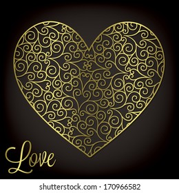 Filigree heart invitation/ card in vector format.