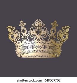 Filigree high detailed imperial crown. Element for design logo, emblem and tattoo. Vector illustration Royal gold symbol over dark background.