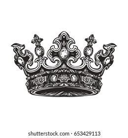 Filigree high detailed imperial crown. Element for design logo, emblem and tattoo. Vector illustration isolated on white background. Coloring book for kids and adults.