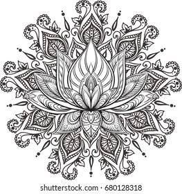 Filigree lotus flower, vector handdrawn illustration on mandala background