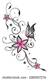 Filigree Ornament with butterfly and blossoms. Pink and black.