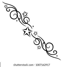 Filigree Tribal Tattoo ornament with stars.