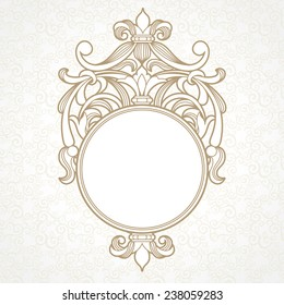 Filigree vector frame in Victorian style. Ornate element for design, place for text. Ornamental circle pattern for wedding invitations and greeting cards. Traditional vintage floral decor.