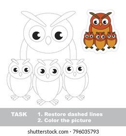 Filin mother. Dot to dot educational game for kids.