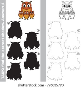 Filin Owl Mother and her Infant to find the correct shadow, the matching educational kid game to compare and connect objects and their true shadows, simple gaming level for preschool kids.