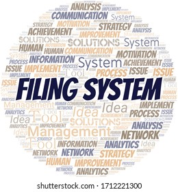 Filing System typography vector word cloud.