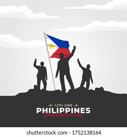 Filipino Araw ng Kalayaan (Translate: Philippine Independence Day). Happy national holiday. Celebrated annually on June 12 in Philippine. Patriotic poster design. Vector illustration