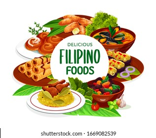 Filipino asian cuisine, dishes food frame. Lump with meat, eggplant thalong, bicolar express, Filipino lumpia and mussels in coconut sauce, adobo with chicken and ensaimada vector round frame