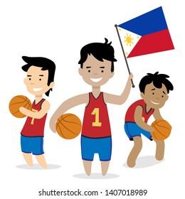 filipino basketball players vector illustration