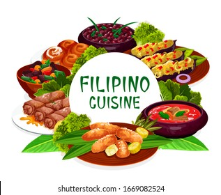 Filipino cuisine, asian food restaurant dishes round frame lump with meat, eggplant thalong, bicolar express. Filipino kidney beans, lumpia, mussels in coconut sauce, ensaimada isolated vector label