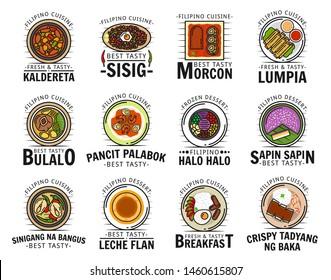 Filipino cuisine food isolated logos. Vector kaldereta and sisig, morcon lumpia, bulalo and pancit palabok, halo sapin, sinigang na bangus, leche flan, crispy tadyang bake meat dishes, pastry dessert