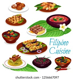 Filipino cuisine meat dishes and pastry dessert. Vector chicken rice adobo, pork and bean stews, meat egg roll, beef soup, eggplant omelette and mussels in coconut sauce, fried banana and apple bun