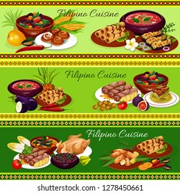 Filipino cuisine vector dishes with meat, seafood and vegetables. Meat egg roll, chicken rice and mussels in coconut sauce, beef soup, fried banana dessert and eggplant omelette, pork bean stew, buns
