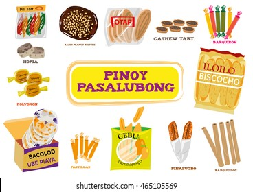 Filipino delicacies sold as gifts for loved ones and friends called Pasalubong. A part of of a huge travel and tourism industry popularly given when somebody comes back home. Editorial Clip Art.