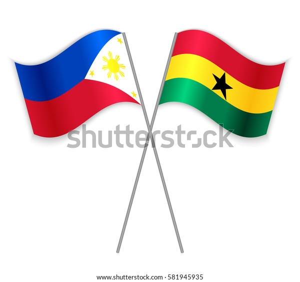 Filipino and Ghanaian crossed flags. Philippines combined with Ghana isolated on white. Language learning, international business or travel concept.