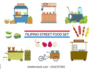Filipino Street Food Carts and and Vendor Stands Set. Editable Clip Art.
