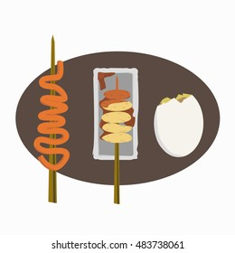 Filipino street foods icon set, chicken intestine, fish balls, balut
