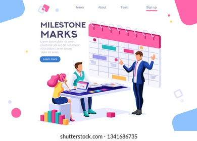 Fill calendar mark, important service organizer. Computer, can use for web banner, infographics, hero images. Flat isometric vector illustration isolated on white background
