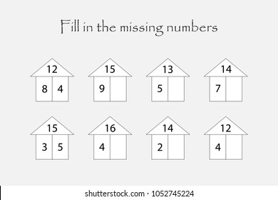 Fill in the missing numbers, mathematics game for children, find a solution, education game for kids, school worksheet activity, task for the development of logical thinking, vector illustration