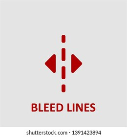 Filled bleed lines icon. Bleed lines vector illustration for graphic design. Bleed lines symbol.
