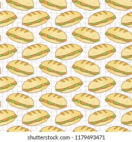 Filled Bread Baguettes Seamless Vector Pattern, Hand Drawn Food Illustration of Healthy Filled Bread Slices for Cafe Restaurant Menu Backgrounds, Kitchen Decor, Nutrition Posters, Breakfast Packging