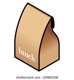 """A filled brown paper bag folded close; with """"lunch"""" printed on the front."""