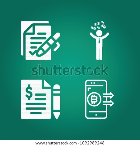 Filled Business 4 Vector Icons Set Stock Vector Royalty Free