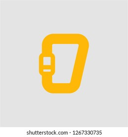 Filled carabiner super icon. Carabiner vector illustration for graphic design. Carabiner symbol.