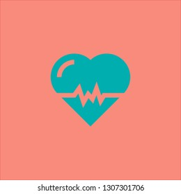 Filled cardiogram icon. Cardiogram vector illustration for graphic design. Cardiogram symbol.