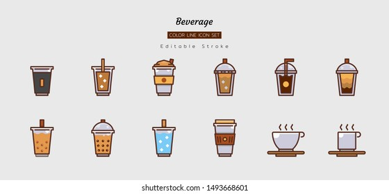 filled color line icon symbol set, drink beverage concept, cafe, coffee, tea, cold, hot, cup, Isolated flat vector design, editable stroke