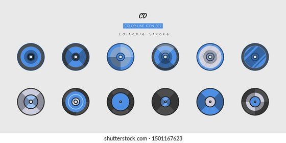 filled color line icon symbol set, technology equipment concept, digital multimedia, disc, cd-rom, dvd, style, Isolated flat vector design, editable stroke