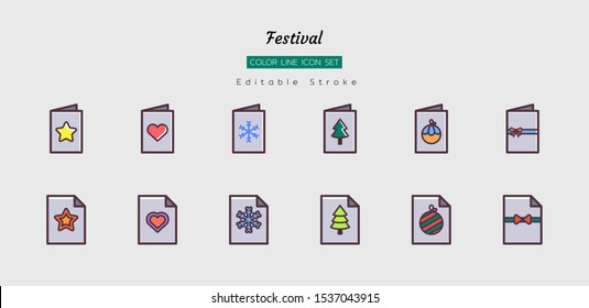 filled color line icon symbol set, festival celebration concept, christmas, new year, card,  Isolated flat vector design, editable stroke