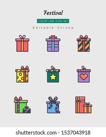 filled color line icon symbol set, festival celebration concept, christmas, new year, present box, Isolated flat vector design, editable stroke
