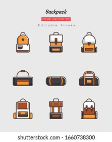 filled color line icon symbol set, camping trips concept, backpacking, adventure, Isolated flat vector design, editable stroke