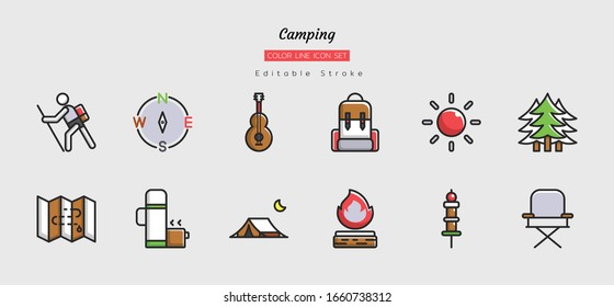 filled color line icon symbol set, camping trips concept, backpacking, activity, adventure, Isolated flat vector design, editable stroke