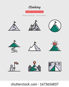 filled color line icon symbol set, climbing concept, hiking, backpacking, activity, adventure, Isolated flat vector design, editable stroke