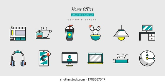 filled color line icon symbol set, home office concept, working space, living space, Isolated flat vector design, editable stroke