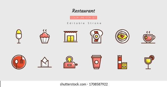 filled color line icon symbol set, restaurant concept, food, drink, Isolated flat vector design, editable stroke